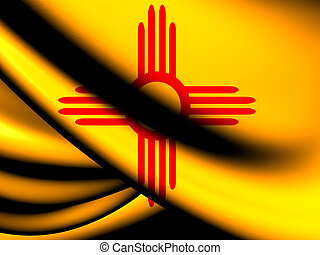 Flag of New Mexico, USA. Close Up.