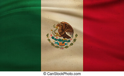 Vintage background with flag of Mexico. Grunge style.