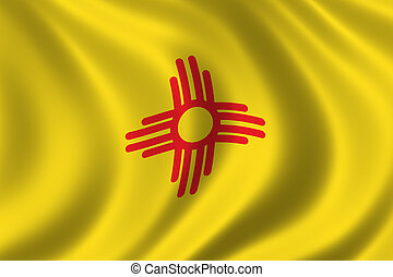 Flag of New Mexico waving in the wind