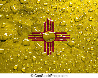 flag of New Mexico with rain drops