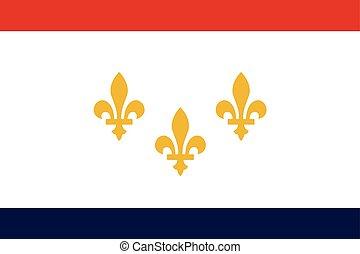 Flag of New Orleans, Louisiana, USA. Vector Format