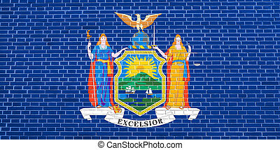 Flag of New York on brick wall texture background