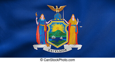 Flag of New York state waving, real fabric texture