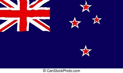 Flag of New Zealand gently waving in the wind 2 in 1