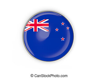 Flag of new zealand, round icon with metal frame
