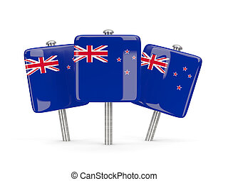 Flag of new zealand, three square pins