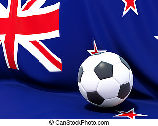 Flag of new zealand with football in front of it