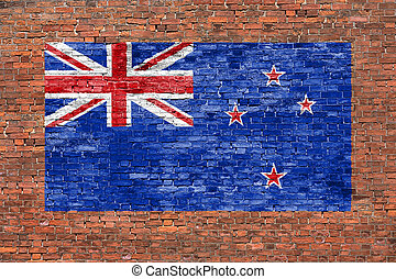 Flag of New Zeland painted on brick wall