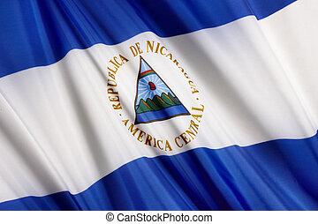 Flag of Nicaragua - Close up shot of wavy flag of Nicaragua