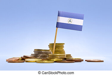 Flag of Nicaragua in a stack of coins.(series) - Flag of...