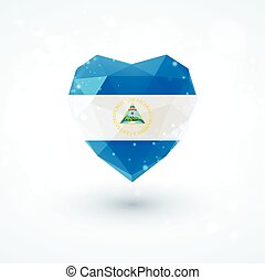 Flag of Nicaragua in shape diamond glass heart. Triangulation style