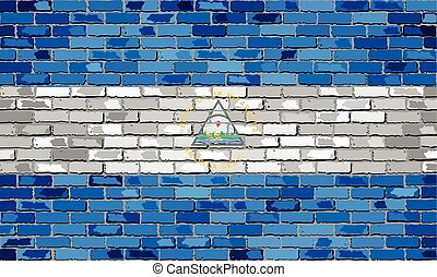 Flag of Nicaragua on a brick wall