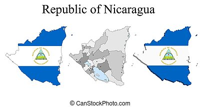 Flag of Nicaragua on map and map with regional division