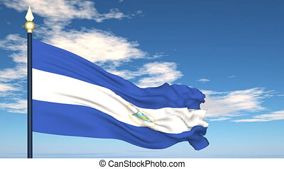 Flag Of Nicaragua on the background of the sky and flying...