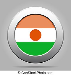 Flag of Niger. Metal gray round button.