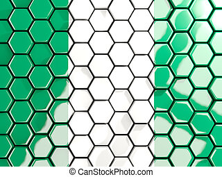 Flag of nigeria, hexagon mosaic background
