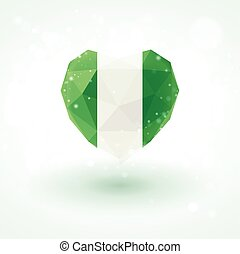 Flag of Nigeria in shape diamond glass heart. Triangulation style