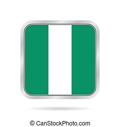 Flag of Nigeria. Metallic gray square button.