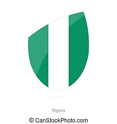 Flag of Nigeria. Nigerian Rugby flag. Vector Illustration.