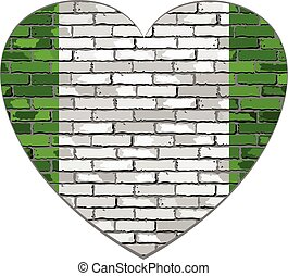 Flag of Nigeria on a brick wall in heart shape