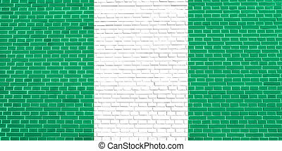 Flag of Nigeria on brick wall texture background