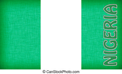 Flag of Nigeria stitched with letters