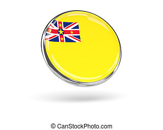 Flag of niue. Round icon with metal frame
