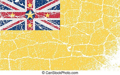 Flag of Niue with old texture. Vector