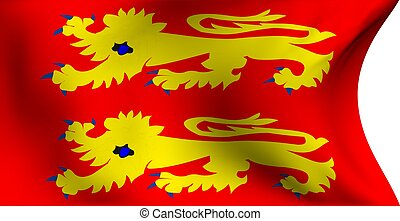 Flag of Normandy, France against white background. Close up.