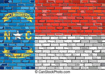 Flag of North Carolina on a brick w
