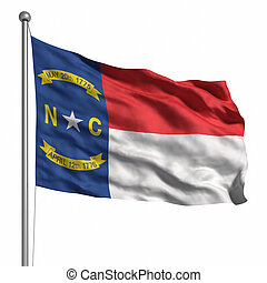 Flag of North Carolina. Rendered with fabric texture (visible at 100%). Clipping path included.