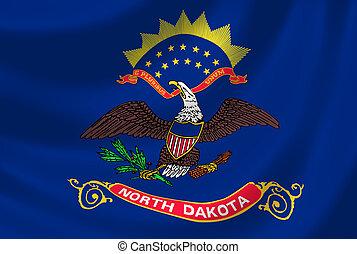 Flag of North Dakota American State waving in the wind detail