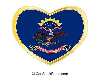 Flag of North Dakota in heart shape, golden frame - Flag of...
