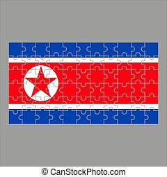 Flag of North Korea from puzzles on a gray background. Vector illustration