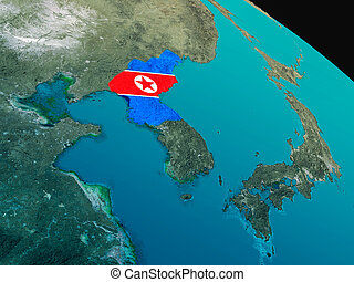 Flag of North Korea from space - North Korea with embedded...