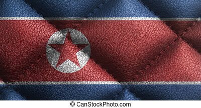 Flag of North Korea on leather texture