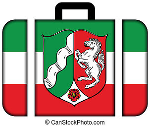 Flag of North Rhine-Westphalia with Coat of Arms, Germany. Suitcase icon, travel and transportation concept