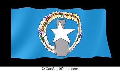 Flag of Northen Mariana Island. Waving flag - Flag animation...