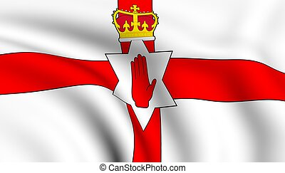 Flag of Northern Ireland. Close up. Front view.