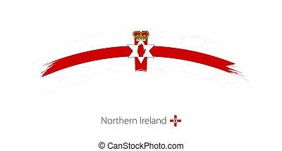 Flag of Northern Ireland in rounded grunge brush stroke.