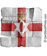Flag of Northern Ireland on old paper.