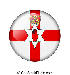 Flag of Northern Ireland. Round glossy icon. Isolated on ...