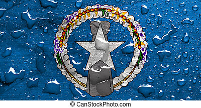 flag of Northern Mariana Islands with rain drops