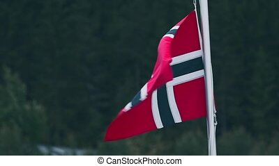 Flag Of Norway, Closeup - Graded and stabilized version....