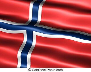 Flag of Norway - Computer generated illustration of the flag...