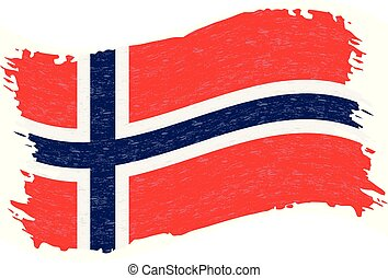 Flag of Norway, Grunge Abstract Brush Stroke Isolated On A White Background. Vector Illustration.