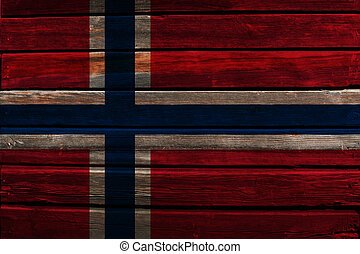 Flag of Norway on wood