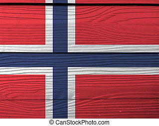 Flag of Norway on wooden wall background. Grunge Norwegian flag texture, a white-fimbriated blue Nordic cross on a red field.