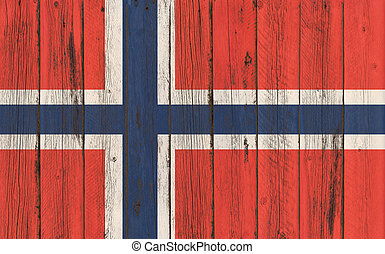 Flag of Norway painted on wooden frame