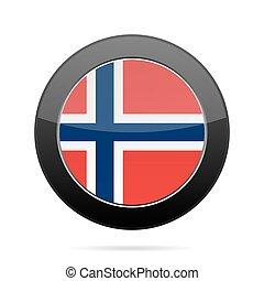 Flag of Norway. Shiny black round button.